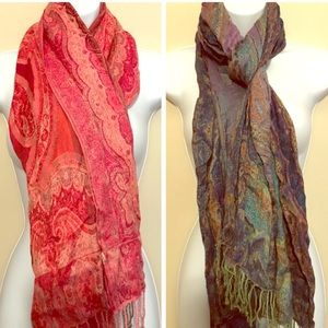 Bundle of 2 Beautiful Abstract Wrap Scarves